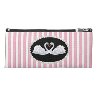 Elegant Pink Striped Pearls & Swans Pencil Case