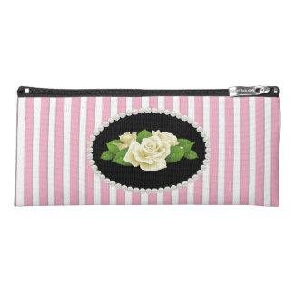 Elegant Pink Striped Pearls & white Roses Pencil Case