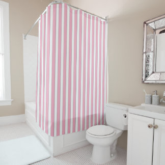 Elegant Pink Striped Shower Curtain