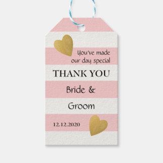 Elegant Pink Striped Wedding Favor Pack Of Gift Tags