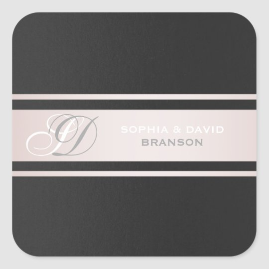 Elegant Pink Stripes Black Textured Monogram Square Sticker