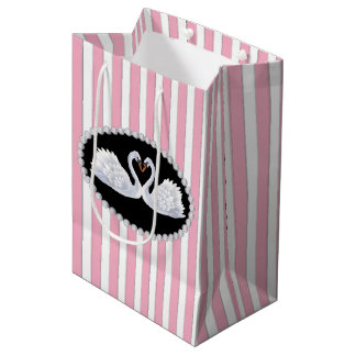 Elegant Pink Stripes, Diamonds & Swans Bag