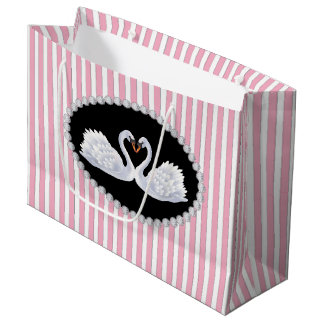 Elegant Pink Stripes, Diamonds & Swans LG Bag