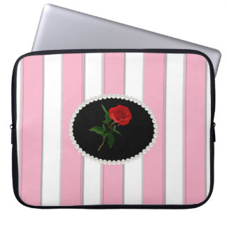 Elegant Pink Stripes Laptop Sleeve With Red Rose