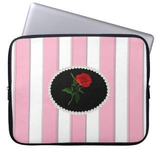 Elegant Pink Stripes Laptop Sleeve With Red Rose