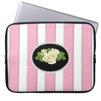 Elegant Pink Stripes Laptop Sleeve With White Rose