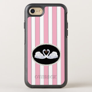 Elegant Pink Stripes Pearl Swans Case