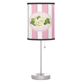 Elegant Pink Stripes, Pearls & Roses Lamp