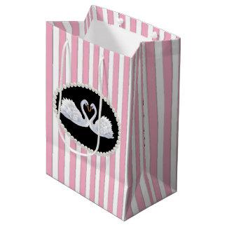 Elegant Pink Stripes, Pearls & Swans Gift Bag