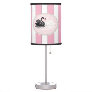 Elegant Pink Stripes, Pearls & Swans Lamp