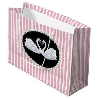 Elegant Pink Stripes, Pearls & Swans LG Bag