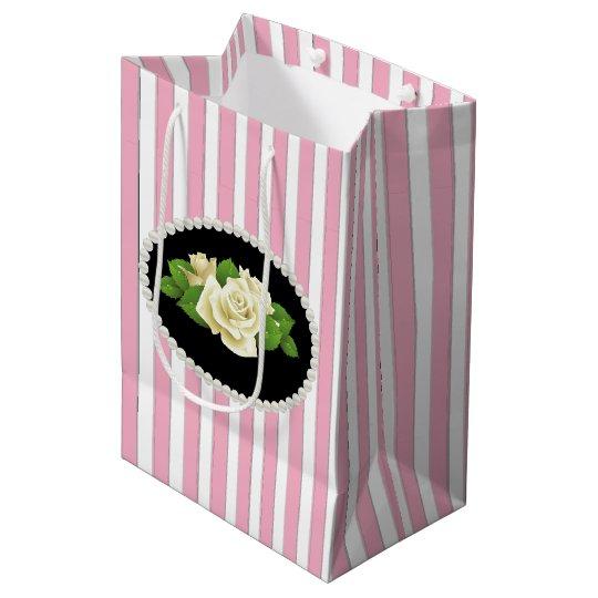 Elegant Pink Stripes, Pearls & White Rose Gift Bag