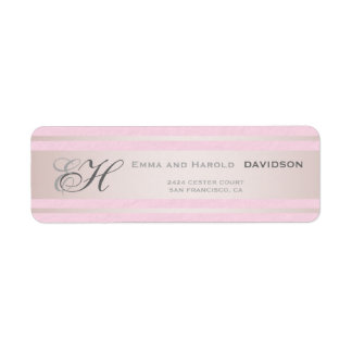 Elegant Pink Stripes Pink Textured Custom Monogram Return Address Label