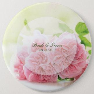 Elegant Pink Summer Rose Wedding 6 Inch Round Button
