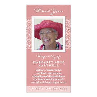 Elegant Pink Thank You Memorial Photo Card