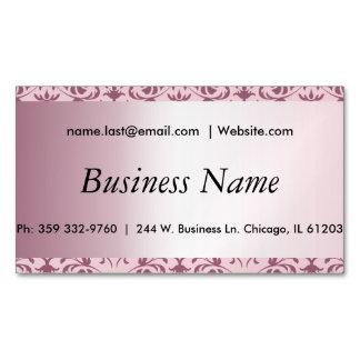 Elegant Pink Tourmaline Damask Business Card Magnet
