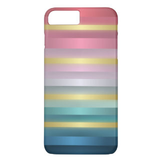Elegant Pink Turquoise Gold Stripes iPhone 7 Plus Case
