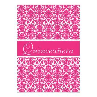 "Elegant Pink Vintage Damask Quinceanera 5"" X 7"" Invitation Card"