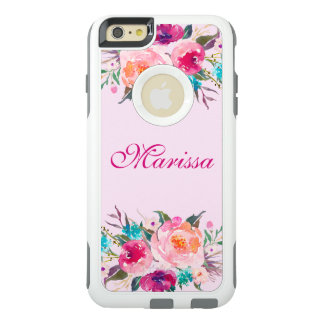 Elegant Pink Watercolor Floral Roses Bouquet OtterBox iPhone 6/6s Plus Case