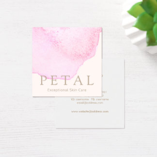 Elegant Pink Watercolor Flower Petal Skin Care Spa Square Business Card