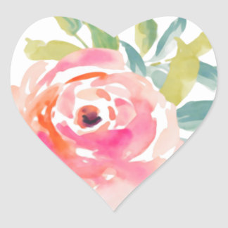 Elegant pink watercolor roses floral heart sticker