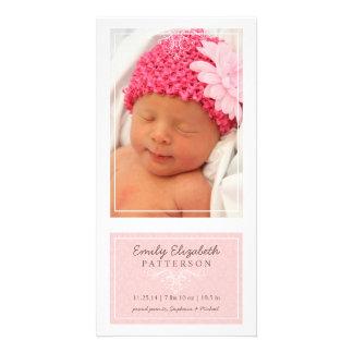 Elegant Pink & White Baby Girl Birth Announcement Card