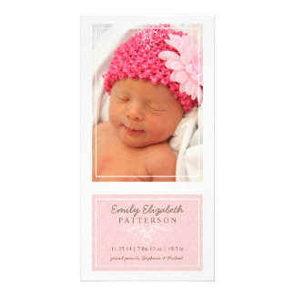 Elegant Pink & White Baby Girl Birth Announcement Photo Greeting Card