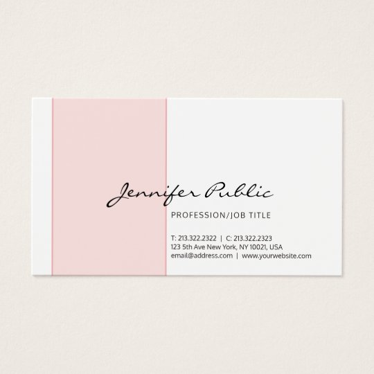 Elegant Pink White Creative Simple Modern Design Business Card
