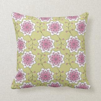 Elegant  Pink White Floral Pattern  On Green Pillows