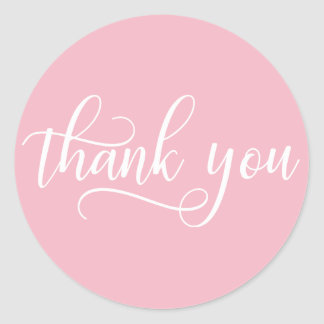 Elegant PINK White Script Calligraphy Thank You Classic Round Sticker