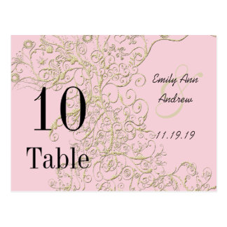 Elegant Pink with Gold Swirls Table Numbers Postcard