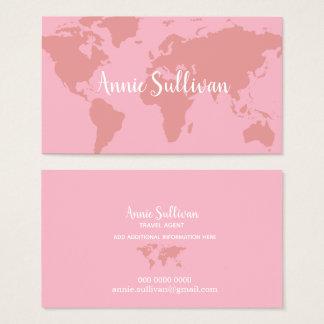 elegant pink world map travel agent business card