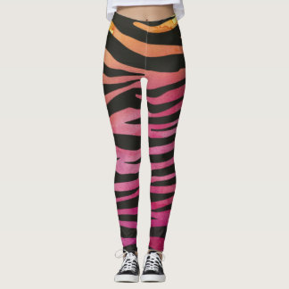 Elegant Pink Zebra Leggings