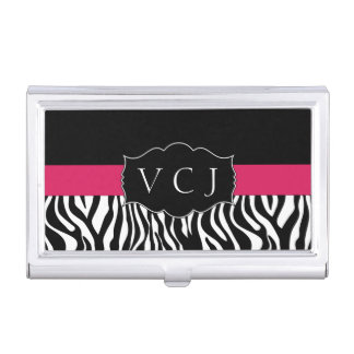 Elegant Pink Zebra Monogram Business Card Holder