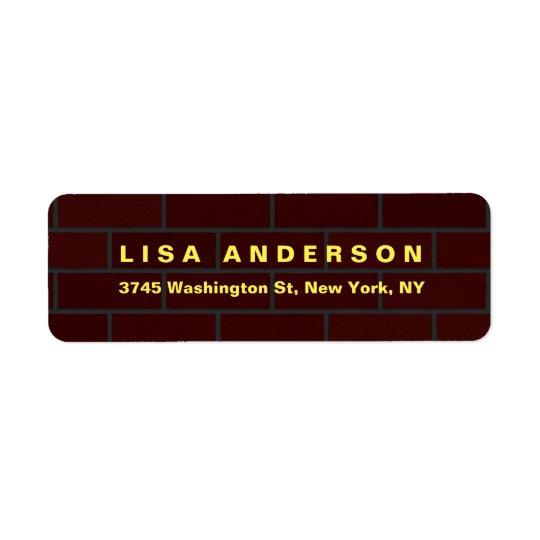 Elegant Plain Brown Red Brick Wall Creative Modern Return Address Label
