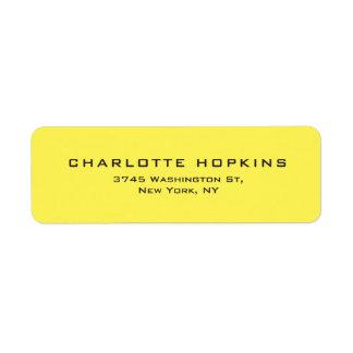 Elegant Plain Yellow Modern Minimalist Return Address Label