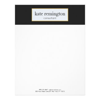 Elegant Plaque on Black Professional Letterhead