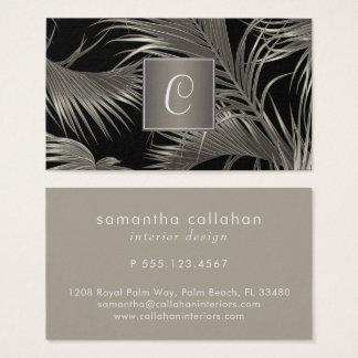 Elegant Platinum Palm Pattern with Monogram Business Card