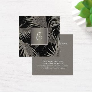 Elegant Platinum Palm Pattern with Monogram Square Business Card
