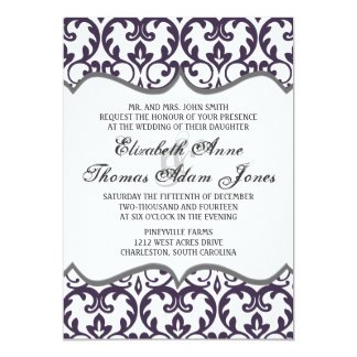 Elegant Plum Damask Heart Wedding Invitation