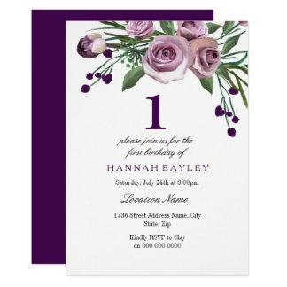 Elegant Plum Purple Rose 1st Birthday Invitation