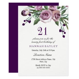 Elegant Plum Purple Rose 21st Birthday Invitation