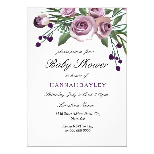 Elegant Plum Purple Rose Baby Shower Invitation