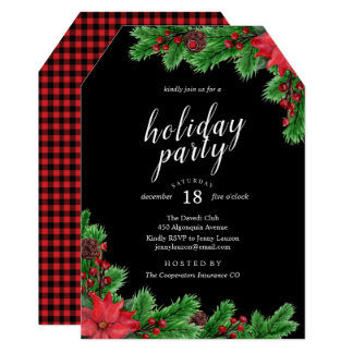 Elegant Poinsettia Christmas Party Invitation