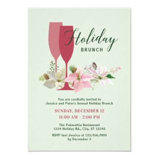 Elegant Poinsettia Holiday Brunch Invitation