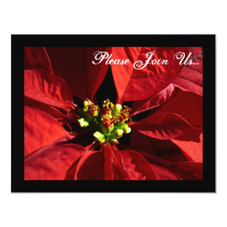 Elegant Poinsettia Holiday Christmas Invitations