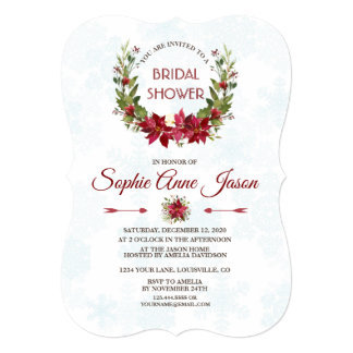 Elegant Poinsettia Winter Wreath Bridal Shower Card