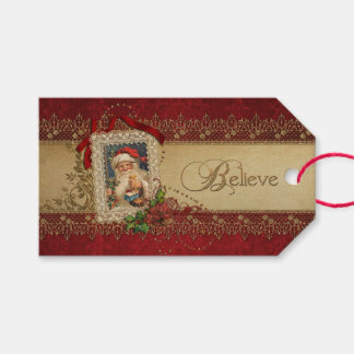Elegant Poinsettias and Gold Swirls Pack Of Gift Tags