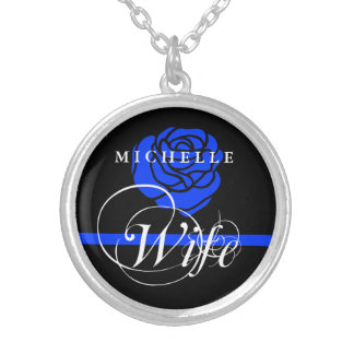 Elegant Police Wife Thin Blue Line Rose Custom Silver Plated Necklace