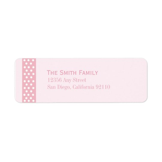 Elegant Polka Dot Return Address Label (pink)
